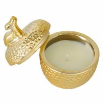 "Duftlys ""Spiced Apple"" i æble smykkeskrin guld Ø7.2cm H8.5cm"
