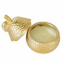 """Duftlys """"Magnolia & Pear Blossom"""" i en pære smykkeskrin guld Ø7.4cm H9cm"""
