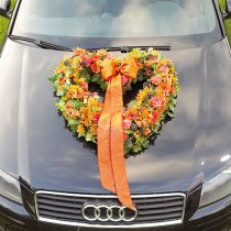 Blomsterskum hjerte åben blomster stof grøn 38cm 2stk bryllupsdekoration