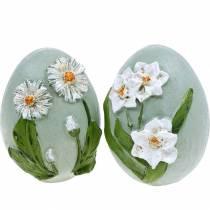 Påskeæg med blomstermotiv tusindfryd og påskeliljer blå, grøn gips assorteret 2stk