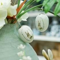 Æg til hængende keramisk hvid kanin Ø5.5cm H7.6cm 12stk