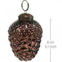 Acorn glasbrune dekorative kegler til hængende adventsdekoration 5,5 × 8 cm 12stk