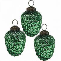 Acorn glas grøn efterår dekoration kegler juletræ dekorationer 5,5 × 8 cm 12stk