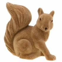 Dekorativt egern floket brun H20cm 2stk