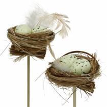 Dekorativ prop fuglerede, påskedekoration, rede med æg 23cm 6stk