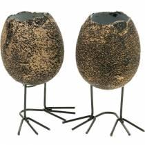 Ægskal til plantning med ben, påskeæg, æg med fuglefødder, påskepynt sort gylden 4stk
