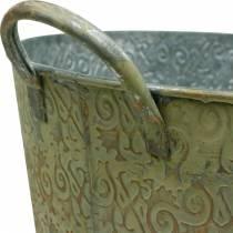 Spand grøn med håndtag Ø30cm vintage look planter metal rust