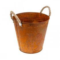 Planter med håndtag, planterskål, metalbeholder med rustdekoration Ø25cm H24cm