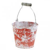 Dekorativ spand hjerteindretning, metalbeholder, Valentinsdag, grebspand Ø12cm