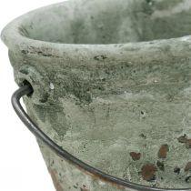 Spand til plantning, keramikbeholder, spandekoration, antik optik Ø11,5cm H10,5cm 3stk