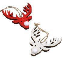 Reindeer hænger rød, hvid 6,5 cm x 7,5 cm 8stk