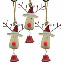 Jule vedhæng elghoved med klokke 11,5 cm rød, beige 3 stk