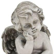 Dekorativ engel i grå siddende 13,5 cm 2stk