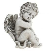 Mindesfigur sovende engelgrå 16cm 2stk