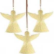 Dekorativ engel, metal vedhæng, julepynt gylden 9 × 10cm 3stk