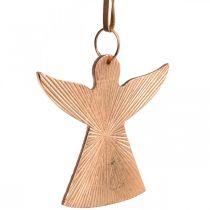 Engle at hænge, adventsdekorationer, metaldekorationer kobberfarvet 9 × 10cm 3stk