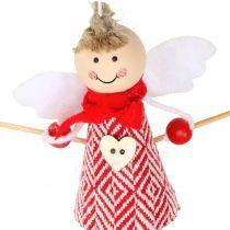 Engel som dekorationsfigur 15 cm rød, hvid 4stk