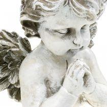 Bedende engel, begravelse blomster, buste af engel figur, grav dekoration H19cm W19.5cm