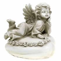 Dekorativ engel på hjerte med LED 16cm 19cm H14.5cm