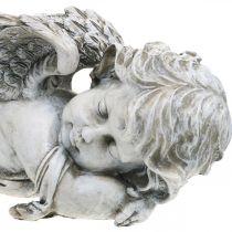 Grav dekoration engel sovende Grav engel grå polyresin 39 × 14x13cm