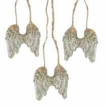 Englevinger til at hænge i guldglitter 5cm × 5,2cm 12stk