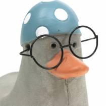 Dekorativ and med briller og svømmehætte grå 10,5 cm 4stk