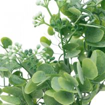Bryllupsdekoration Kunstige eukalyptusgrene med blomster Dekorativ buket grøn, hvid 26cm