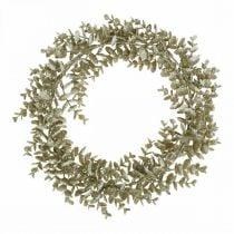 Dekorativ krans kunstig eukalyptus gylden, snedækket Ø36cm