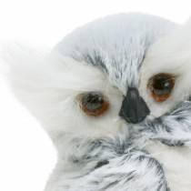 Dekorativ ugle hvid med pels og fjer 21cm