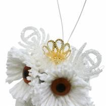 Dekorativ ugle med krone til at hænge hvid, glitter 6,5 × 8 cm 6stk.