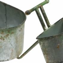 Urtepotte cykel zinkgrå, grøn 40 × 14 × 21cm