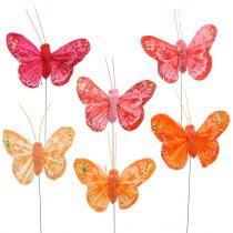 Fjer sommerfugl orange-rød 5cm 24stk