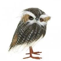Ugle til pynt, efterår, dekorativ fugl, skovdekoration H21cm