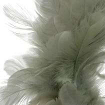 Dekorativ fjerkrans grå Ø18cm påskedekoration ægte fjer