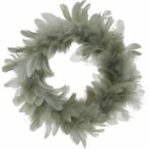 Påskedekoration forårskrans grå Ø18cm Ægte fjer