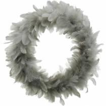 Påskedekoration forårskrans stor lysegrå Ø40cm forårsdekoration ægte fjer