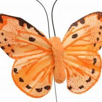 Sommerfugl gul orange på tråd 7 cm tråd 24 stykker