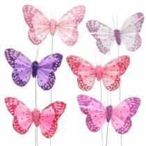 Fjer sommerfugl på tråd lyserød, lilla 7cm 24stk
