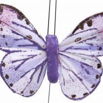 Fjer sommerfugl metaltråd lyserød, lilla 7 cm 12 stk