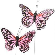 Sommerfugl på trådrosa 11 cm 12stk