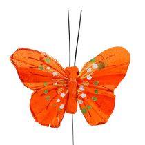 Fjer sommerfugle 6 cm gul, orange 24stk