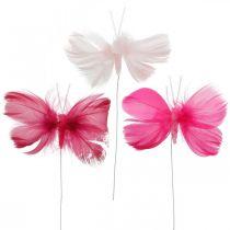 Fjer sommerfugle lyserød / lyserød / rød, dekorative sommerfugle på en tråd 6stk