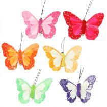 Fjer sommerfugle på klip flerfarvet 7cm 12stk