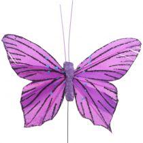 Fjer sommerfugle lilla 8,5 cm 12stk