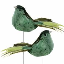 Fjerfugl på trådgrøn 12 cm 4stk