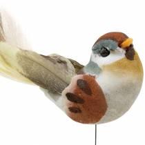 Fugl på en tråd 5,5 cm flerfarvet 9stk