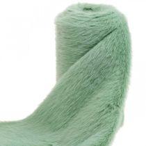 Dekorativ pelsbånd grønt faux fur mintpels bordløber 15 × 150cm