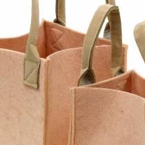 Filtplanter lyserød filtpose med håndtag filtdekorationssæt på 2