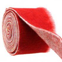 Filtbånddekoration tofarvet rød, hvid Grydebånd jul 15cm × 4m