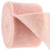 Filtbånd, potbånd tofarvet hvid / lyserød 15 cm 5m